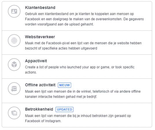 facebook aangepaste doelgroepen