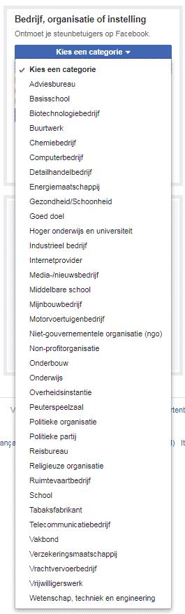 bedrijf organisatie instelling categorieen