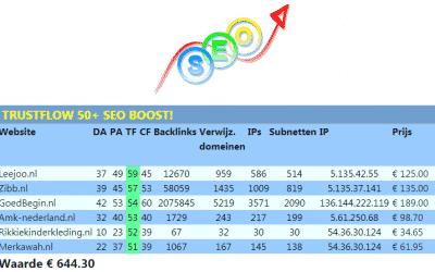 TrustFlow 50+ Linkpakket PRO – trustflow domain-authority domein-auteriteit TF DA seo boost seo-boost