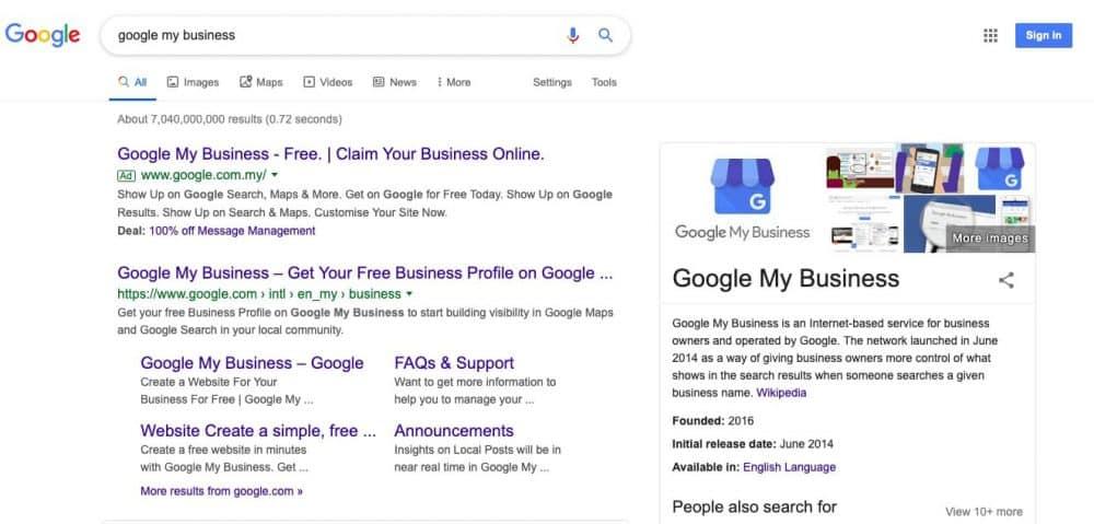 Google mijn bedrijf in de zoekresultaten